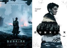 Both of these takes on the Dunkirk poster use blues and blacks to articulate the seriousness and overall heartache that is this subject matter.