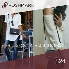 new| BLACK SILVER CHAIN CROSSBODY BAG Super chic and fun crossbody. Features silver chain hardware. Rectangular. Only defect is that it has some very small decoloration or smudge. No biggie though, this bag is super cute regardless. Faux leather.   ✔Available in Peach color  ❌PRICE IS FIRM❌ Bags Crossbody Bags