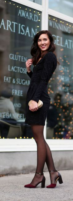 Holiday idea: Little Black Dress (less than $60) with statement tights and very affordable velvet burgundy heels. Add sparkles with a gold clutch and pink lipstick (fashion blogger Marie's Bazaar)