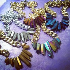 Shh by Sadie handmade crystal quartz necklaces - sapphire, gold, silver, mermaid and purple. Chunky necklaces / statement necklace / jewellery / handmade / nz made / fashion / style