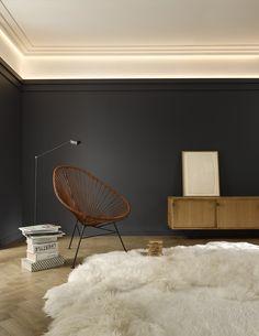 Ceiling Light Design, Ceiling Decor, Flat Interior, Interior Design, Home Office Design, House Design, Molding Ceiling, Cornice Design, Orac Decor