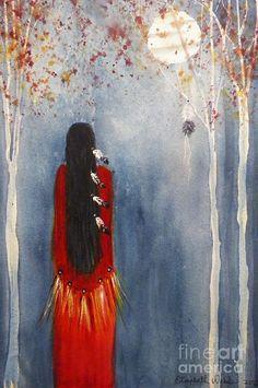 "Artistas E Obras. Elizabeth Webb, ""Moon of Falling Leaves"" Native American Paintings, Native American Images, American Indian Art, Indian Paintings, Art Paintings, Afrique Art, Southwestern Art, Indigenous Art, Native Art"