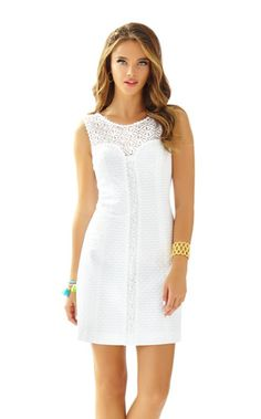 The Sofia dress is yet another affirmation that Lilly knows white dresses. This gorgeous sleeveless shift with lace yoke and a lace panel is everything you're looking for in a celebration dress. From wedding festivities to graduation ceremonies, Lilly has a white dress for you.