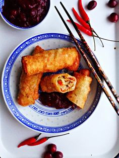 Turkey Egg Rolls with Cranberry Chili Dipping Sauce