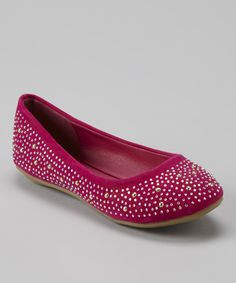 Another great find on #zulily! Anna Shoes Fuchsia & Silver Studded Flat by Anna Shoes #zulilyfinds