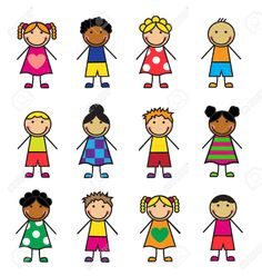 Illustration of Cartoon children of different nationalities on a white background vector art, clipart and stock vectors. Drawing Lessons For Kids, Art Drawings For Kids, Doodle Drawings, Easy Drawings, Doodle Art, Art For Kids, Cartoon Faces, Cartoon Kids, Stick Figure Drawing