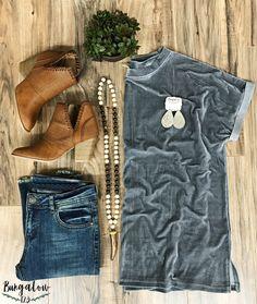 Ginger Velvet Top - Grey