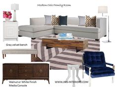 Design Board by JWS INteriors  www.jws-interiors.com   JWS Interiors offers E-Decor Services..   Modern family room; grey, white, navy room, geometric rug, navy chair, white sectional, modern chic, JWS Interiors design board, bloggers design board, modern family room design board