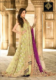 Here we go with bang up to date and Latest Pakistani Engagement Dresses Engagement dress is not very heavy as the bridal wedding day dress. Pakistani Engagement Dresses, Pakistani Party Wear Dresses, Indian Party Wear, Pakistani Outfits, Indian Wear, Party Wear Frocks, Latest Bridal Dresses, Frock For Women, Bridal Dress Design
