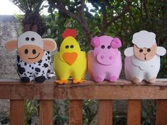 Farm Animal Crafts Animal Crafts For Kids Farm Crafts Vbs Crafts Easter Crafts Outdoor Spray Paint Cow Craft Farm Lessons Fall Projects Kids Crafts, Easter Crafts, Diy And Crafts, Plastic Bottle Crafts, Recycle Plastic Bottles, Pochette Surprise, Farm Animal Crafts, Farm Animals, Farm Birthday