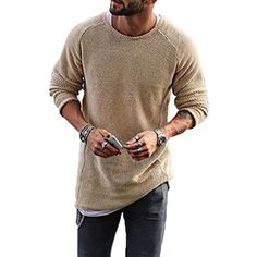 40784e5436 Mens Knitting Shirt Solid Long-Sleeved O-Neck Regular Fit Casual T-shirt on  sale-NewChic Mobile