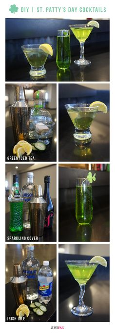 Go green! Celebrate with St Patrick's Day-inspired cocktails. #DIY #Tutorial