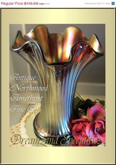 Northwood Antique Vase Fine Rib Iridescent Amethyst Marked 'N'