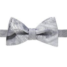 Trompe L'Oeil Grey Wood Grain Bow Tie - UpTownMale