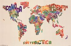 World Map - Text Poster at AllPosters.com
