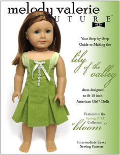 Melody Valerie Couture Lily of the Valley Dress Pattern for 18 inch American Girl Dolls - Download Print Sew!