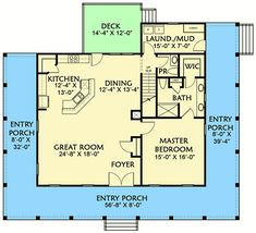Plan 3 Bed Country Home Plan With 3 Sided Wraparound Porch Basement House Plans, Lake House Plans, Country House Plans, New House Plans, Modern House Plans, Cabin Plans, Small House Plans, House Floor Plans, Tiny House Cabin