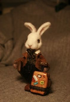 Fiber Art ~ Felted rabbit with suitcase