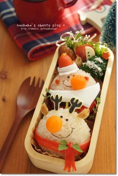Ball santa and reindeer onigiri bento