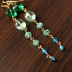 Long Aqua Earrings Gemstone Emerald Green Quartz by livjewellery