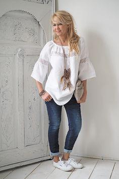 IBIZA Linen Blouse, WHITE - BYPIAS Linen Tops - BYPIAS