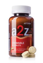 Designed for children and adults who have difficulty swallowing capsules, dōTERRA a2z Chewable tablets provide the nutrients your body needs for optimal health.* -	Combines a blend of B vitamins with vitamins A, C, and E  -	Features botanical extracts and is formulated to be used with IQ Mega  -	Supports healthy immunity and provides antioxidant protection*  -	Promotes healthy cell development and longevity when taken daily*  -	Now a great watermelon flavor!