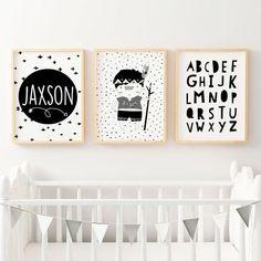 Set Of 3 Boys Monochrome Tribal Nursery Prints For Personalised