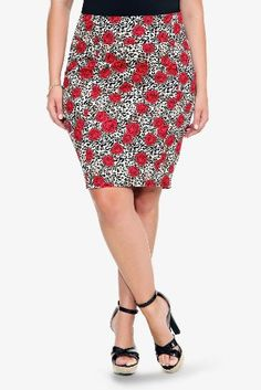 Torrid Plus Size Retro Chic By Torrid - Leopard & Rose Pencil Skirt | Style I Need