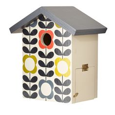 Orla Kiely: This wooden bird house will make a perfect home for the birds in your garden. Place away from prevailing winds, rain and strong sunlight. Features a 32mm hole for garden birds and easy opening side door for end of season cleaning. With metal hook for hanging to back.