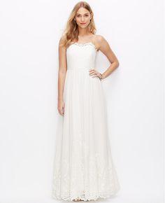 Lace Georgette Spaghetti Strap Gown | Ann Taylor