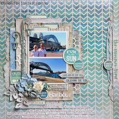 """""""Summer"""" layout by Amanda Baldwin P1706   Flip Flops, P1703   Surf, CT814   Collectables-Sandy Toes,SS267   Sandy Toes-Sticker Sheet.Other: Twine """"Hello Summer"""" layout by …"""