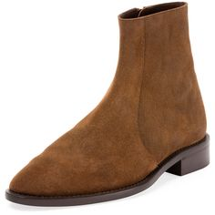 Balenciaga Standard Suede Chelsea Ankle Boot (€745) ❤ liked on Polyvore featuring men's fashion, men's shoes, men's boots, brown, mens suede shoes, mens side zip boots, mens pointed toe cowboy boots, mens brown shoes and mens brown suede boots