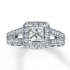 I think this is SPARKLY!!!  :O)  Kay - Diamond Engagement Ring 1 1/2 ct tw Princess-cut 14K White Gold
