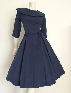 Stunning Navy Bow 50's Party Dress / Full by TheWordfromtheBird