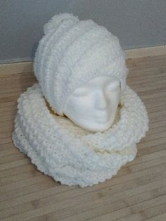 Ensemble+snood/+bonnet+spirale+au+tricot