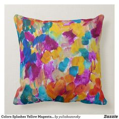 Shop Colors Splashes Yellow Magenta Blue Abstract Throw Pillow created by yuliakazansky. Yellow Plums, Red Green Yellow, Pink Blue, Yellow Pillows, Colorful Pillows, Bright Pink, Bright Colors, Mustard Yellow Decor, Throw Pillow Covers