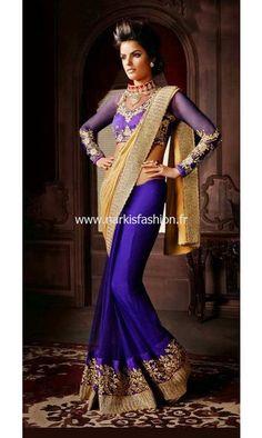 Saree Karishma - Bleu Designer Sari Bollywood Dress Gold for 90€ #NarkisFashion #ReadyStock