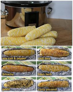 Slow Cooker Corn on the Cob ....... Oh, we have to try this!  I tried baked potatoes in the crock pot on Christmas last year, just to have one less thing to worry about, and they turned out great.  This recipes sounds wonderful!