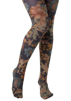 STAFFORDSHIRE TIGHTS  These muted, floral, Look From London tights remind us of the work of English textile designer William Morris, who spent a lot of time working in fair Staffordshire. These comfortable, opaque tights, awash in hues of navy blue, green, orange, grey, and gold, evoke Morris' iconic wallpaper prints, textiles, and tapestries, micking their beautiful air.    www.modcloth.com