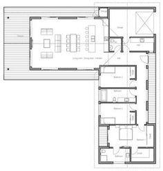 T shaped house floor plans 6 floor plan detail l shaped house floor Best Modern House Design, Small House Design, Modern House Plans, Small House Plans, Modern Design, Ranch House Plans, House Floor Plans, L Shaped House Plans, Villa Plan