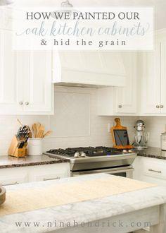 How We Painted Our Oak Cabinets and Hid the Grain #farmhouse #farmhousedecor #modernfarmhouse #homedecor