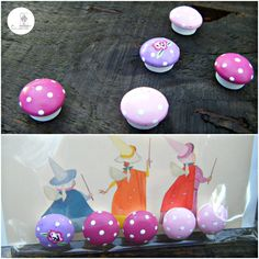 Vintage rose Teeny Tiny Toadstools in Sleeping Beauty packaging by Stone Lodge Crafts! Available ready made items can be found over at https://twitter.com/StoneLodgeCraft