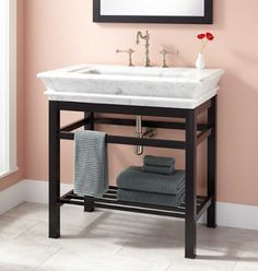 Modern Console Vanity with Carrara Marble Sink Top - Console Sinks - Bathroom Sinks - Bathroom Bathroom Mixer Taps, Bathroom Cupboards, Zen Bathroom, Bathrooms, Bathroom Ideas, Bathroom Vanities, Bathroom Designs, Kitchen Cabinets, Industrial Decor