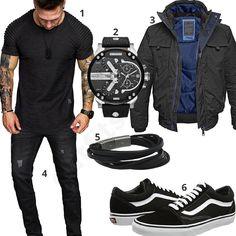 Schwarzer Herren-Style mit Shirt, Bomerjacke und Jeans (m0959) #schwarz #vans #oldskool #diesel #fossil #outfit #style #herrenmode #männermode #fashion #menswear #herren #männer #mode #menstyle #mensfashion #menswear #inspiration #cloth #ootd #herrenoutfit #männeroutfit