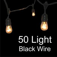 """Product Features        Heavy duty globe string lights with suspensors      Includes: 50 clear (11W S14) sign bulbs and 16 AWG black wire socket set      Commercial Grade      Spacing between bulbs: 2 ft      Total length: 108 ft      Suspensor Drop: 4"""" to the bottom of the socket      1/4"""" eyelet hole at the top of each suspensor (used to hang lights tautly with a galvanized metal cable)      Lights have only one plug and cannot be connected end to end      ***$259.00, includes 11w bulbs***"""
