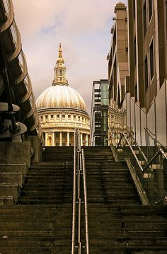 The dome of St. Paul's, as seen from the lower edge of the Millennium Bridge | London