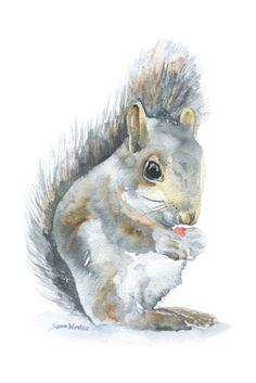 Eichhörnchen Aquarell - 4 x 6 - Giclée Reproduktion Fine Art Print - Kinderzimmer Kunst - Wald Tier