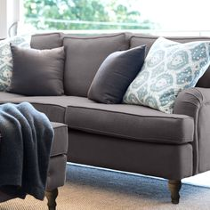 Charcoal Linen Roll Arm Sofa - 3 Seater