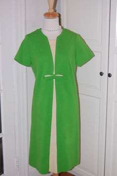 VINTAGE 60s Lime Green & White Knit Short by fourstoryvintage, $54.99