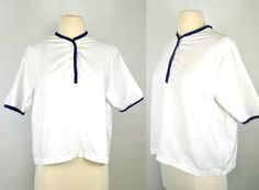 1960s/1970s White Blouse with Navy Blue Trim by Carol Brent